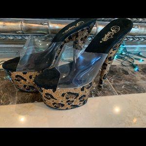 Leopard Print Bejeweled Pleaser Size 8